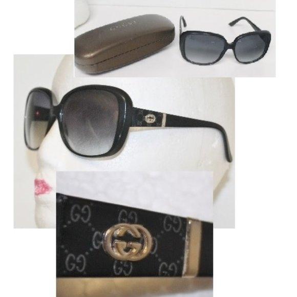 Auth GUCCI GG Logo 3125 Gradient Sunglasses w Case